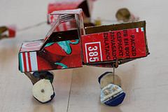 Tin car made of cans